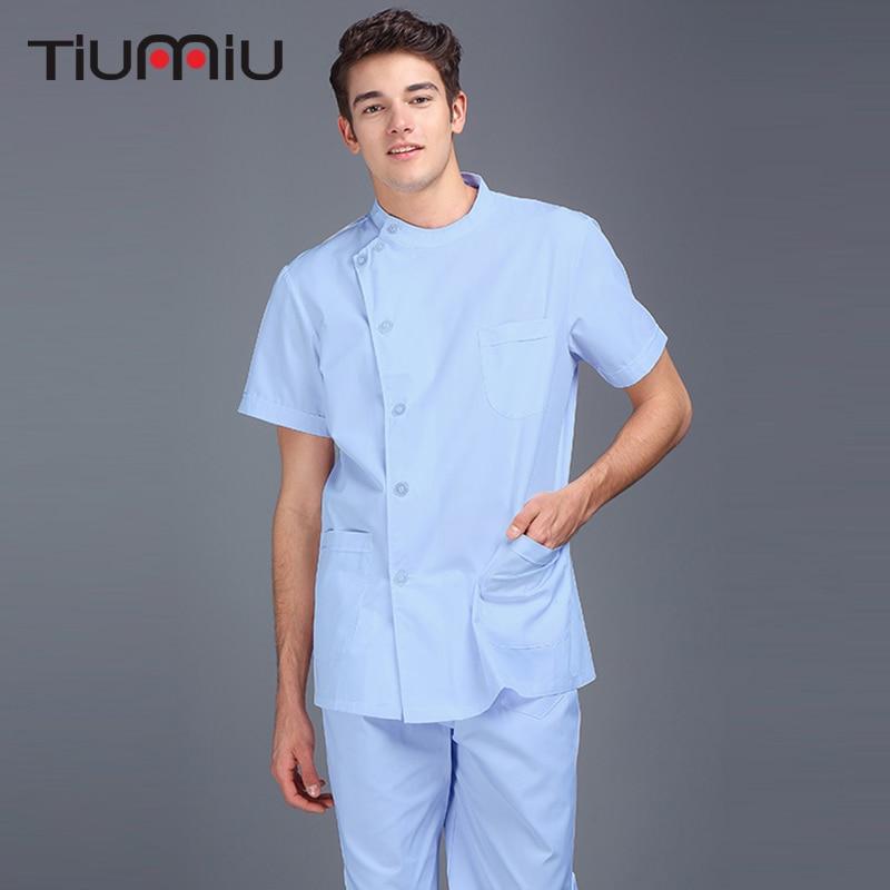 Men Scrub Tops Doctor Nurse Uniform Homme Hospital Surgical Jacket Medicos Medical Lab Coat Workwear Wholesale High Quality Tops