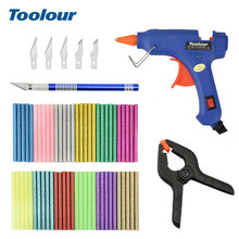 Toolour 110/220V 20W 7 millimetri * 100 millimetri Hot Melt Colla Spiedi Pistola con Hobby Coltello fisso Clip 60pcs Colorful Colla Spiedi Power Tool Kit(China)