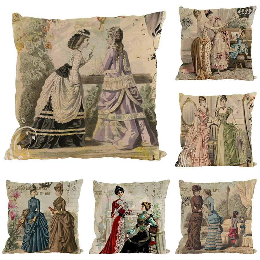 45X45CM Creative Western Classical Style Cushion Cover Sofa Car Bedroom Pillow Cover Square Velvet Throw Pillowcase Home Decor