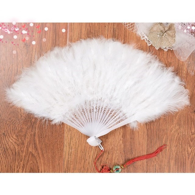 Beautiful Natural Perform Feather Hairy Fan Dance Props Turkey Feather Folding Fan Wedding Desktop Decoration Feather Fan
