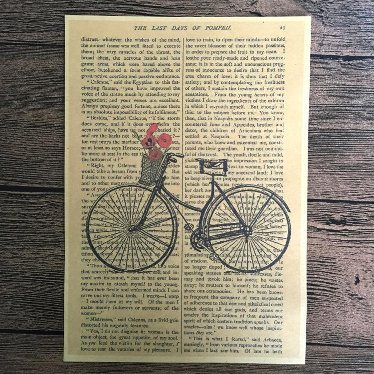 Retro Bicycle Paint Kraft Paper Poster Vintage Living Room Wall Art Crafts Sticker Print Home Decor Picture 42x30cm JIP B026-in Painting u0026 Calligraphy from ... & Retro Bicycle Paint Kraft Paper Poster Vintage Living Room Wall Art ...