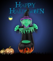 1.8 M Halloween Inflatable Green Witch with Pumpkin Tank For Yard Party Decoration Gift Toy