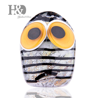 H&D Modern Glazed Owl Figurine Handmade Blown Animal Statue Multicolor Blown Glass Adornment Home Decoration Creative Gift