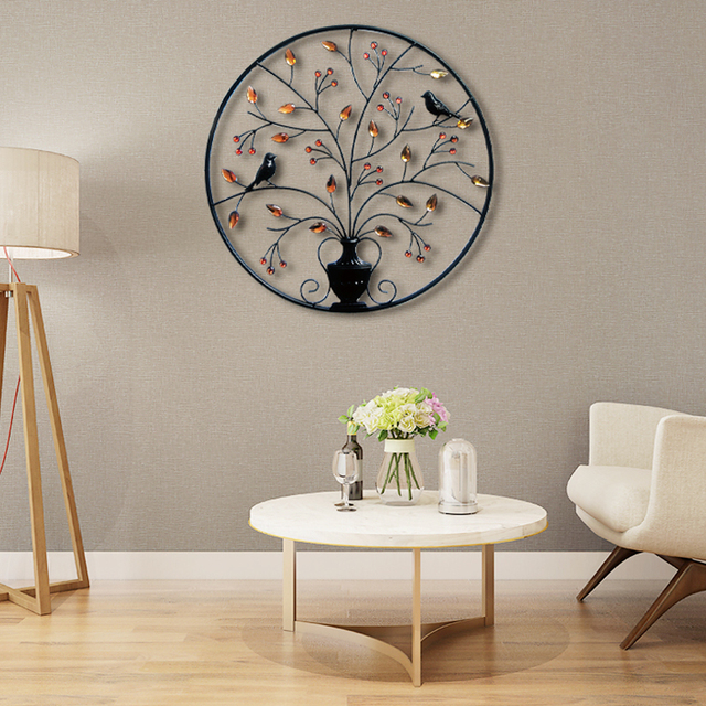 living room ornaments small with kitchen ideas metal iron circular wall decor creative decorations background art decoration 62cm in figurines miniatures from home