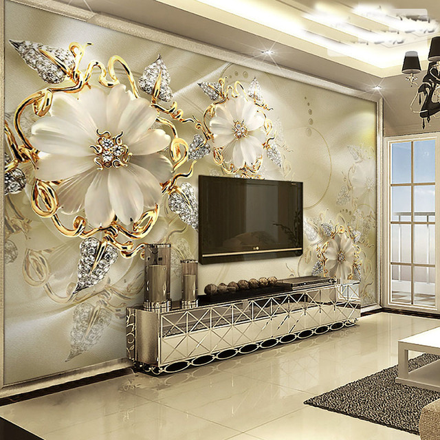 Custom Crystal Flower Murals Wall Wallpaper For Tv Background Carving Peony Photo
