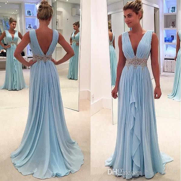 Blue Prom Dresses A-line Deep V-neck Chiffon Beaded Party Maxys Plus Size Long Prom Gown Evening Dresses Robe De Soiree