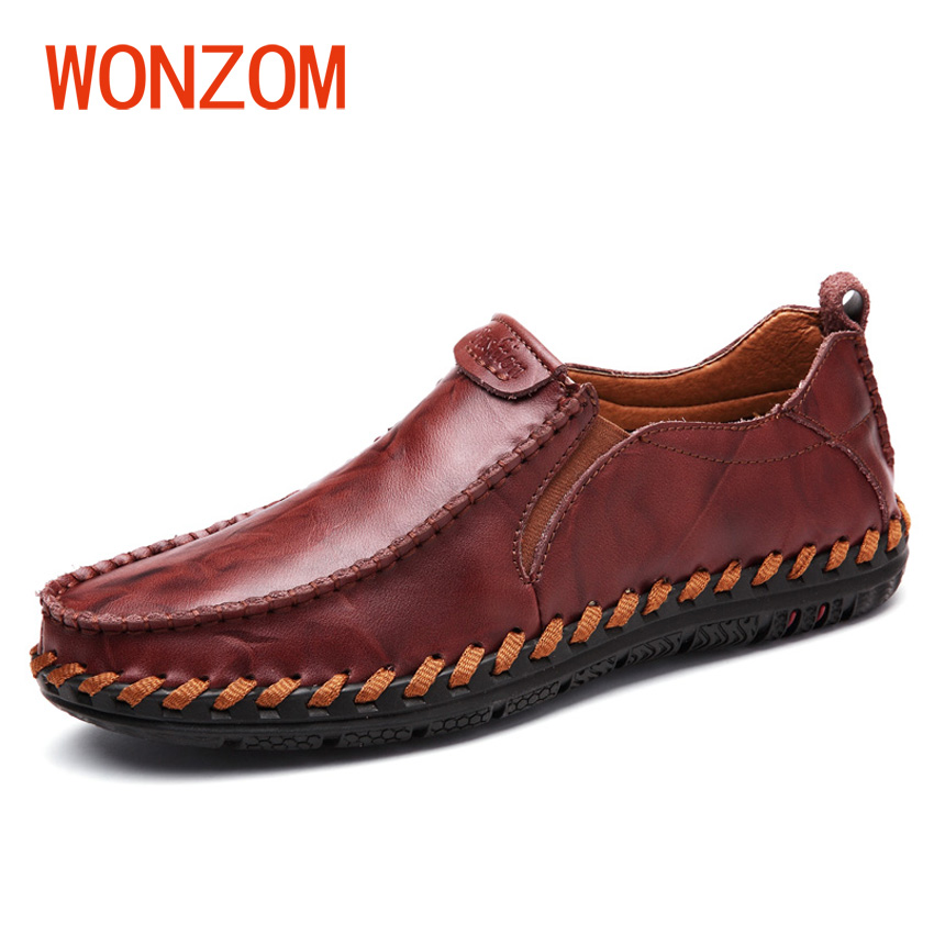 WONZOM 2018 New Fashion High Quality Men's Casual Shoes Slip On Loafers Genuine Leather Breathable Men Flat Driving Moccasins cbjsho british style summer men loafers 2017 new casual shoes slip on fashion drivers loafer genuine leather moccasins