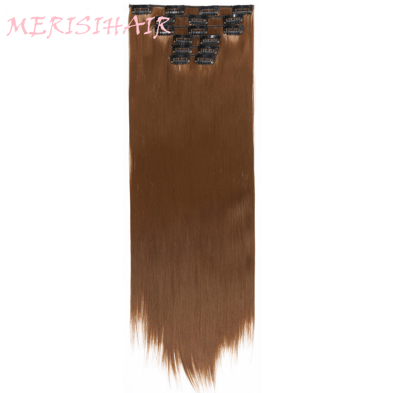 MERISI HAIR 16Clips In Hair Extensions For Women Long Straight Hairpieces Synthetic Hair 140g 15Colors Available Heat Resisant