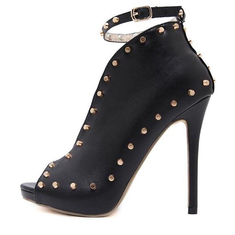 Chaussures Noir 12 Rome À Nouvelle Cheville Sangle Pompes Street Boucle Talons Hauts Pu Rivet Bouche Sexy Europe Populaire Poissons Femme Cm Défilé Talon Beat OgqwHXg