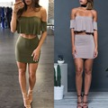 2016 Strapless Top With Mini Dress Sexy Club Dress Mini Dreess 2 Pieces Summer Women Set Elegant Dress Suits