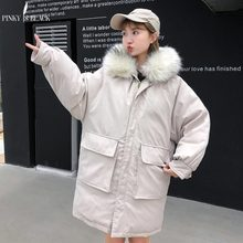 PinkyIsBlack 2019 Suede Long Parkas Women Winter Jacket Casual Fur Collar Hooded Female Coat Warm Thick