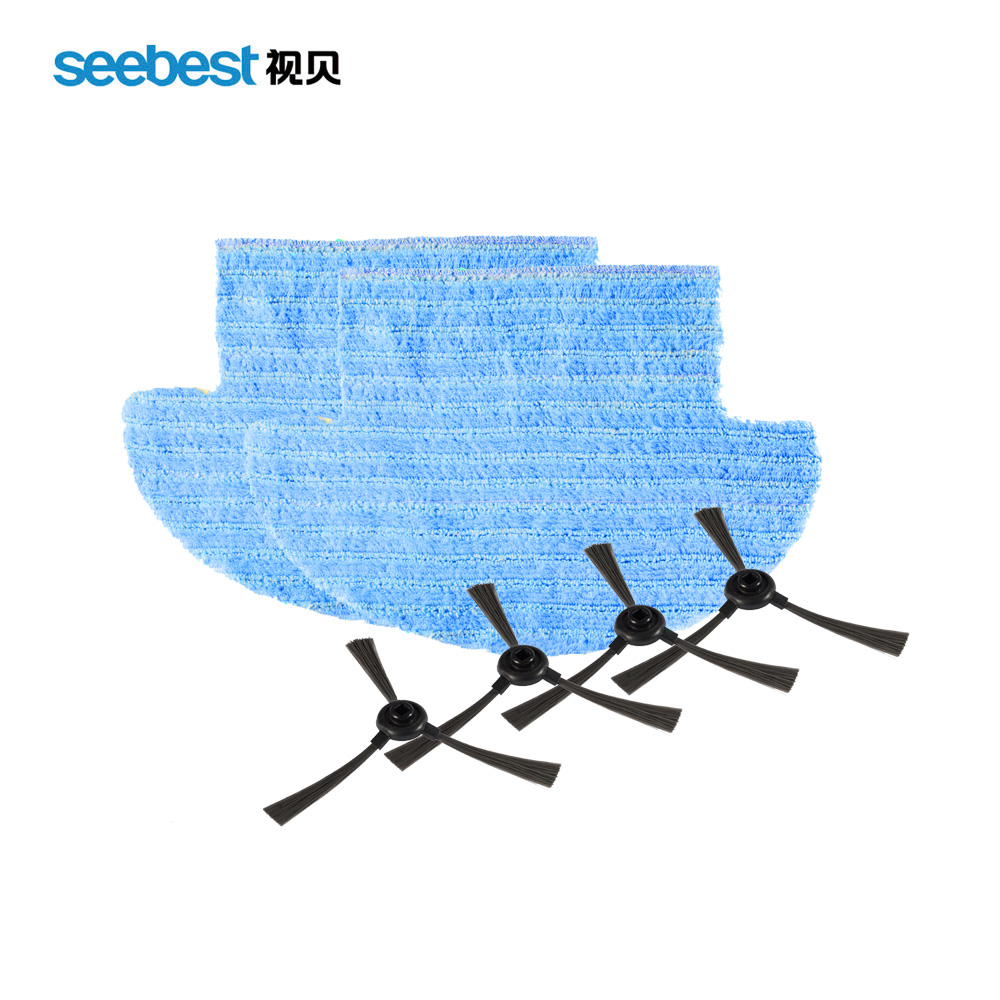 Seebest D730/D720 Robot Vacuum Cleaner Spare Parts Side Brush 4pcs plus Wet/Dry Mop 2pcs for replacement seebest d750 turing 1 0 dry and wet mop robot vacuum cleanerwith water tank and gps navigator planned clean route clean robot