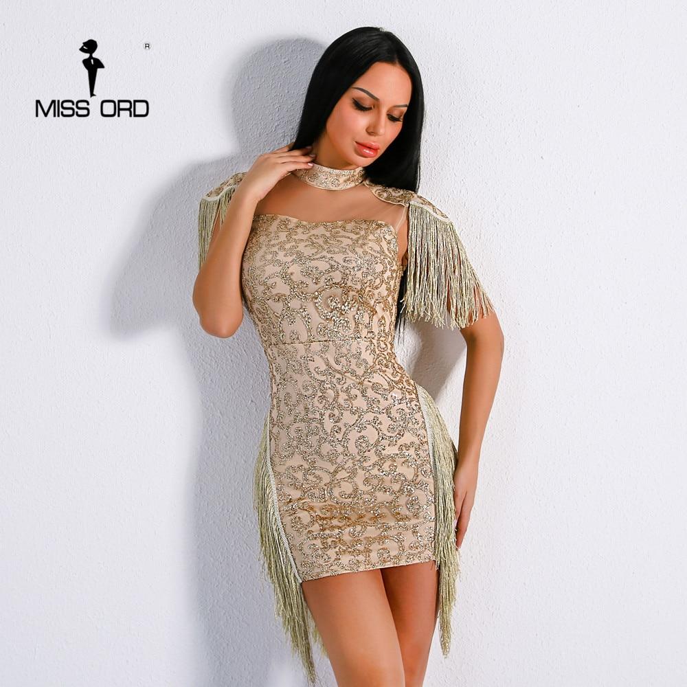 Missord 2017 Sexy High Neck Sleeveless Geometric  Glitter  Mesh Tassel Elegant Dress FT8776