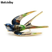 Classic Alloy Enamel Swallow Brooch Pins Metal Scarf Pins Christmas Gift Banquet Weddings Accessories