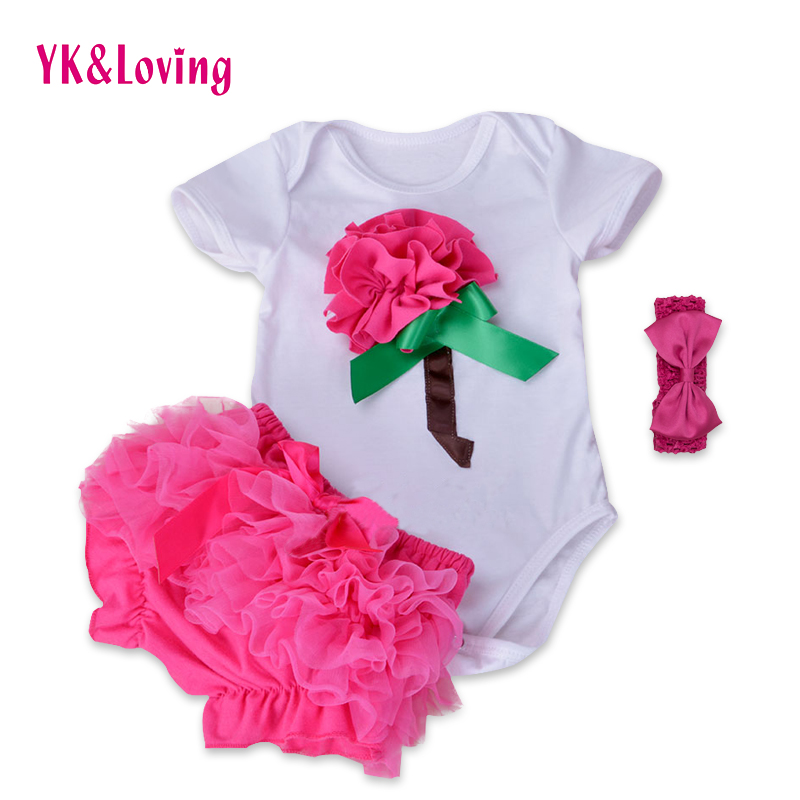 Flower Baby Girl Clothing Set 2015 Summer 100%Cotton Short Sleeve Flower Bodysuit+Ruffles Baby ShortsNewborn Baby Girl Clothes