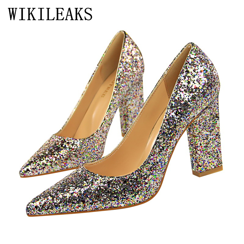 ladies sexy high heels party pumps women shoes high heel italian euro square heel shoes woman gold silver bling shoes bigtree silver patent leather sexy ballet heels fetish shoes high heels pumps silver heels ladies party shoes 2017 ballet dance shoes