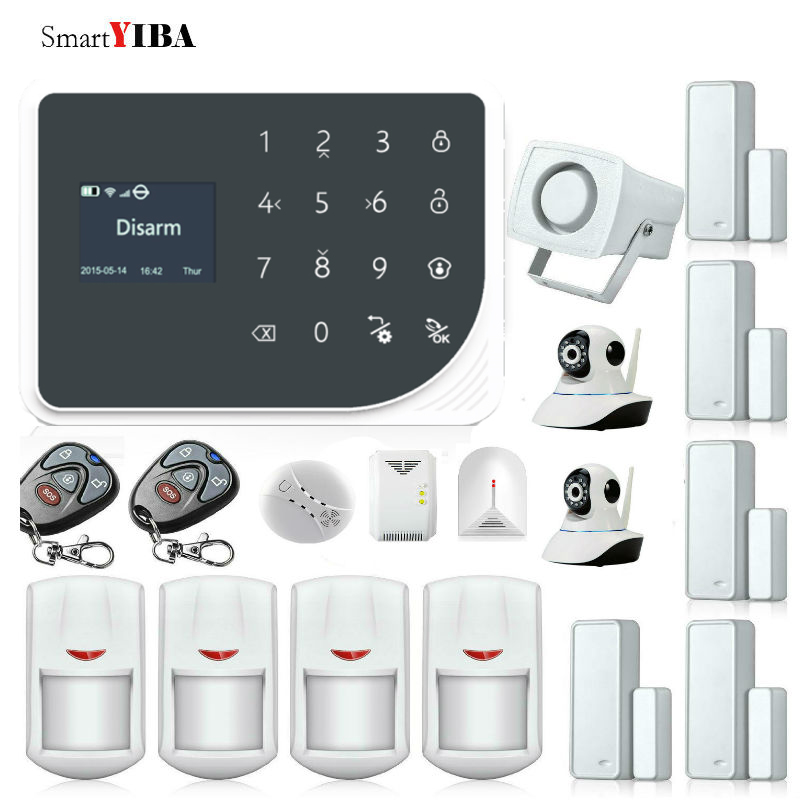 SmartYIBA Wifi IP Camera Smoke Detector Gas Leakage Glass Break Sensor For Allarme Casa GSM SMS Alarme Residencial Sem Fio Kits
