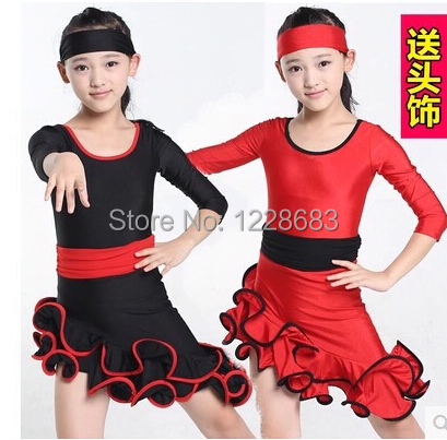 Free Shipping New 2014 Black Red Unequal Long Sleeve Cocktail Ballroom Dance Costume Latin Dance Dress For Girls