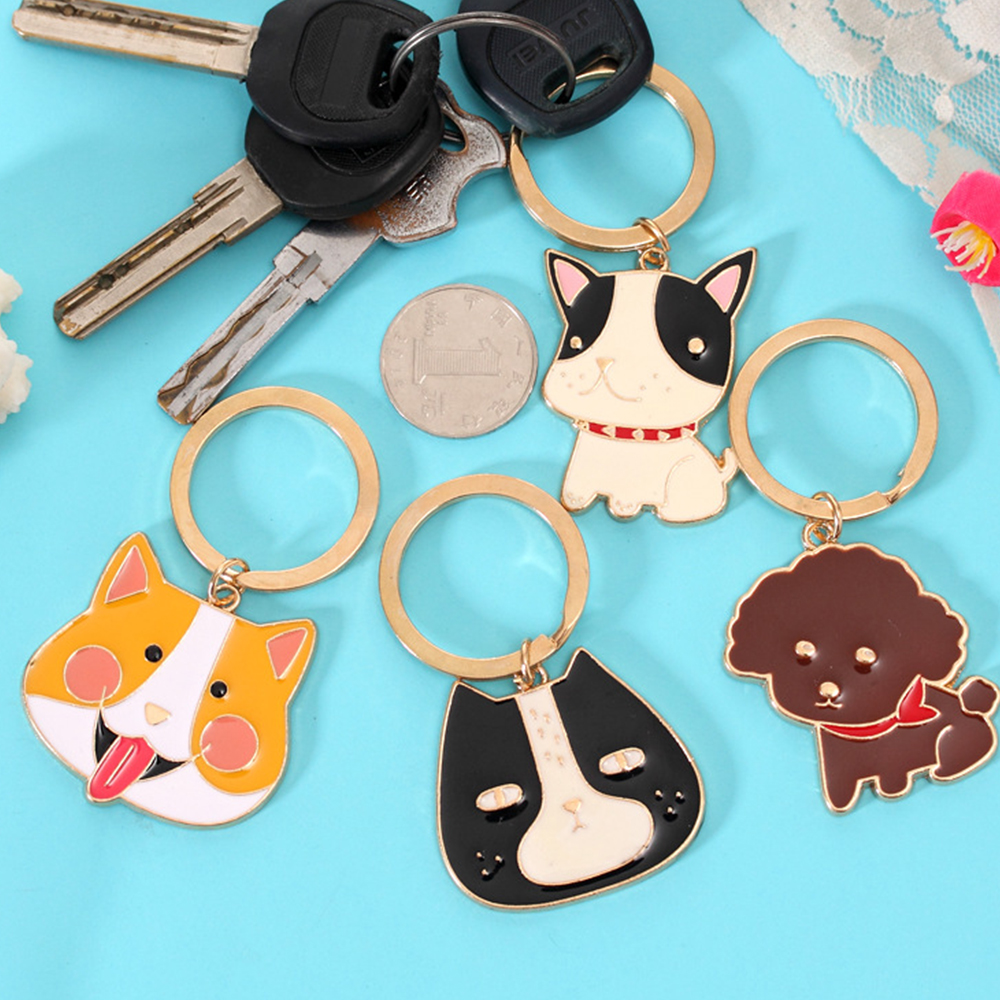 Alloy Cute Teddy Bulldog Shiba Dog Toy Funny toys for children Women Bags&Coin Purse Poodle Keychian Animals Gifts Toys oyuncak