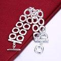 925 pulsera brazalete de plata de ley 2017 Mujeres/Hombres joyería doble plaza H094 feminina pulseira masculina pulseras de calidad superior
