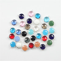 50pcs mix color round shape crystal glass bead charm glass connector for jewelry making decoration