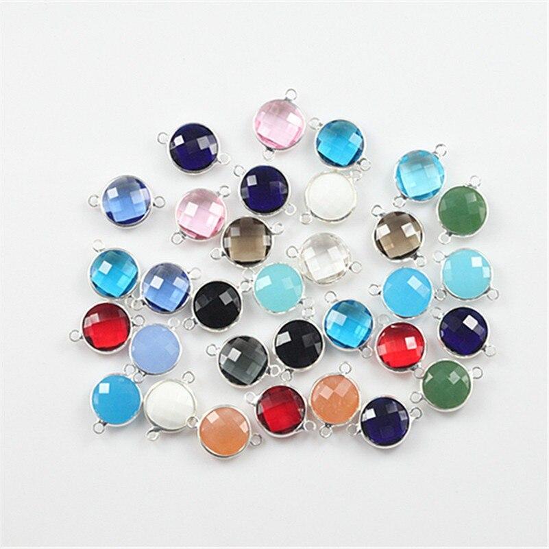 Connecteur en verre de charme de perle de verre en cristal de forme ronde de mélange de 50 pcs pour la décoration de fabrication de bijoux