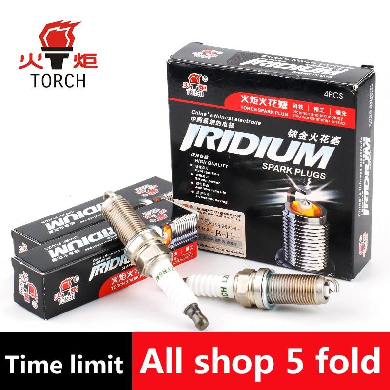 4pcs/lot China original TORCH Iridium spark plugs LZFR6AI for BRILLIANCE M2/V3/H230;WINGLE5 iridium spark plugs 4 pack