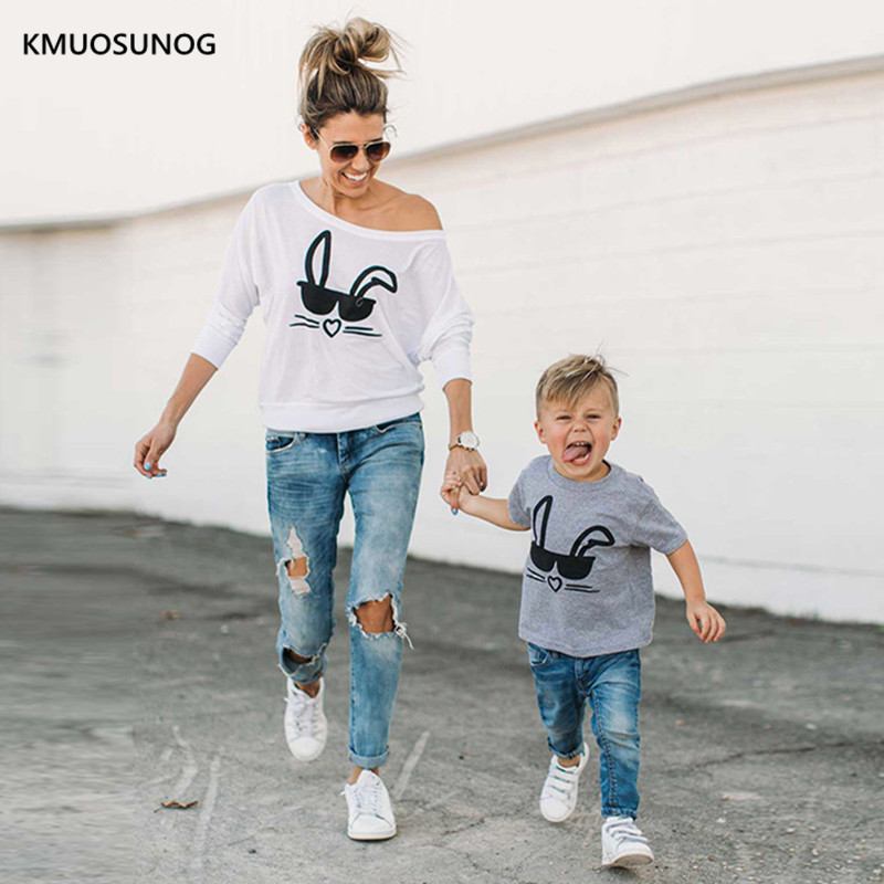 New Family Matching Clothes Cartoon Rabbits Print Top Family T Shirt Mum And Daughter Clothes Mum And Son Matching Outfits C0246