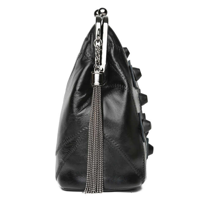 NOVEDAD DE VERANO 2019, bolsos de hombro a la moda para mujer, clip de metal, bolso de cuero genuino, bolso transparente para mujer