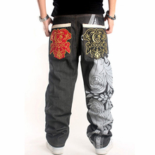 Pants men hip-hop jeans 5XL chinos men  with pockets graffiti print embroidered punk straight baggy pants men