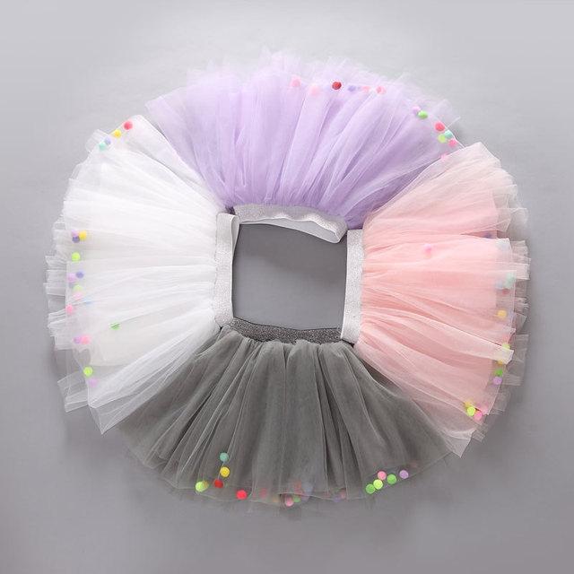 2016 Verão Venda Quente Do Bebê Da Menina Tutu Saias de Renda Colorida Decoração pequena Bola Garoto de Alta Qualidade vestido de Baile Para O Partido Dace
