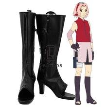 Anime Naruto Haruno Sakura Negro Peep Toe Botas Zapatos de Fiesta Cosplay Por Encargo