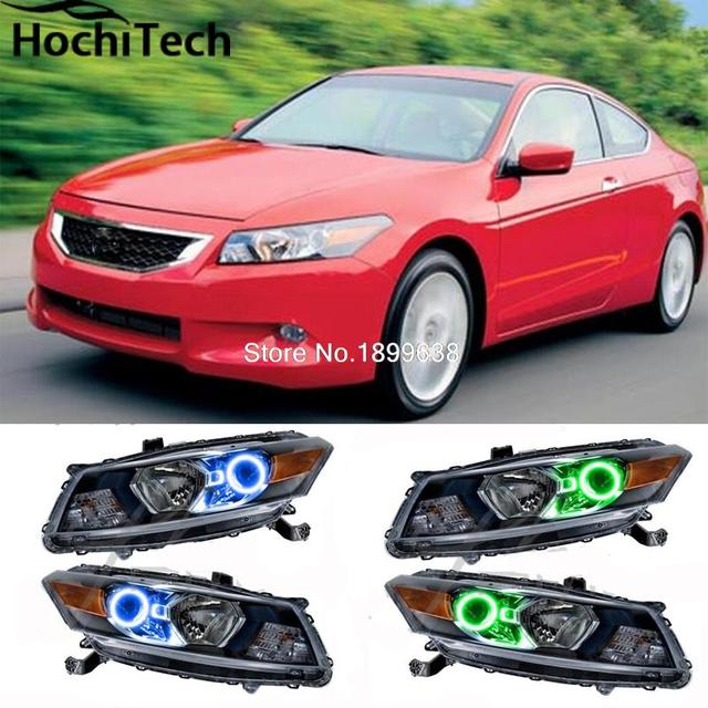 For Honda Accord Coupe 2008 2009 2010 RGB LED Headlight Rings Halo Angel  Demon Eyes With
