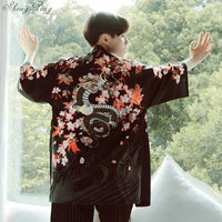 2018 mens kimono japanese clothes streetwear Dragon Printed casual kimonos jackets harajuku japan style cardigan outwear Q117
