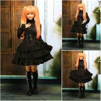 Customer to order!V 1047 Black Cotton Full sleeves Gothic Lolita Dress School uniform Halloween Cosplay Cocktail Dress