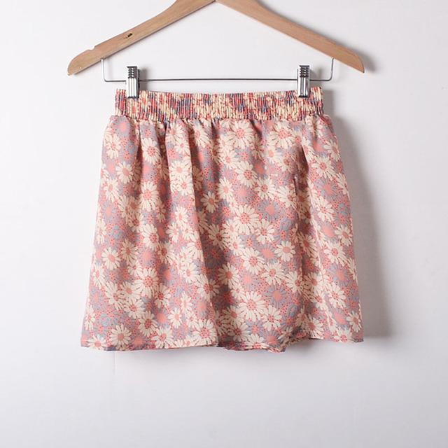 7 cores harajuku moda feminina verão cintura alta saia plissada vento cosplay saia floral saias feminino kawaii lovely cute girls