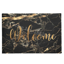 Стильные черные коврики для входной двери из искусственного мрамора с золотыми венами, резиновый напольный коврик для входной двери, ковер, модный комнатный коврик для внутренней двери