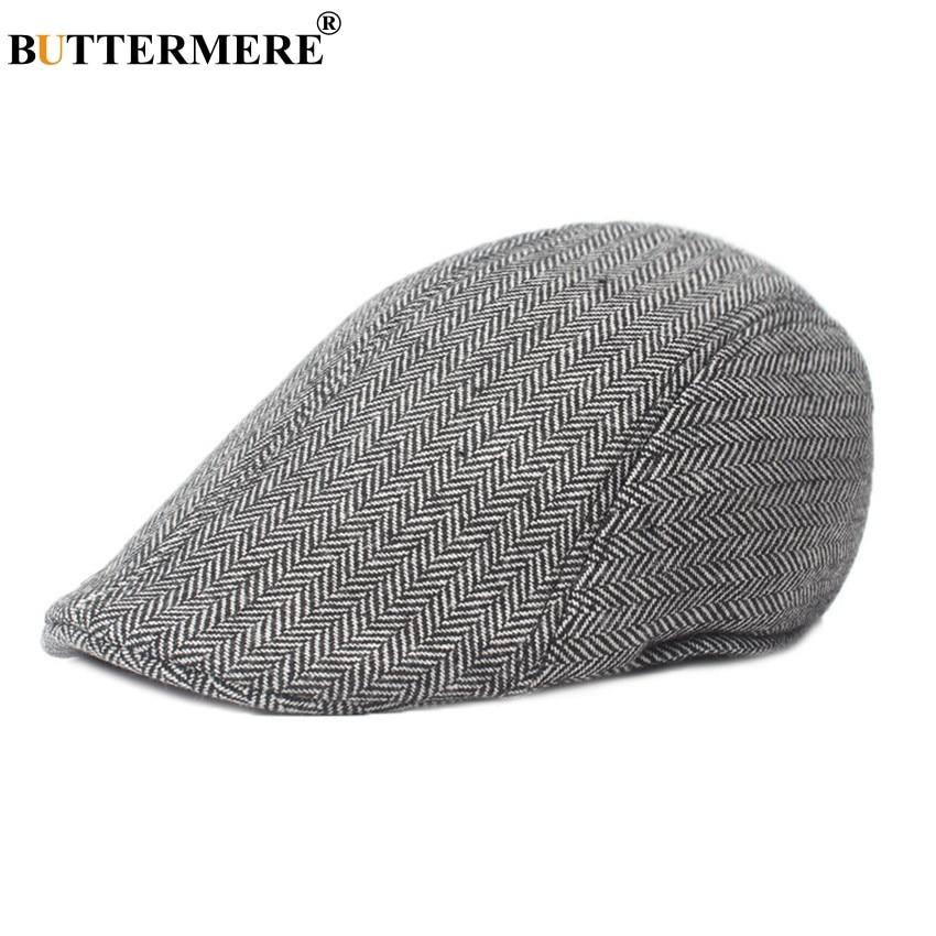 BUTTERMERE Brown Herringbone Flat Cap Beret For Mens Women Cabbie Vintage Wool Tweed Duckbill Cap 2019 Winter Warm Hat And Caps in Men 39 s Berets from Apparel Accessories