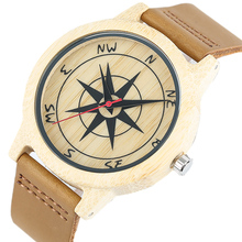 Creative Compass Pattern Wooden Watches for Women Men Real Leather Band Strap Na
