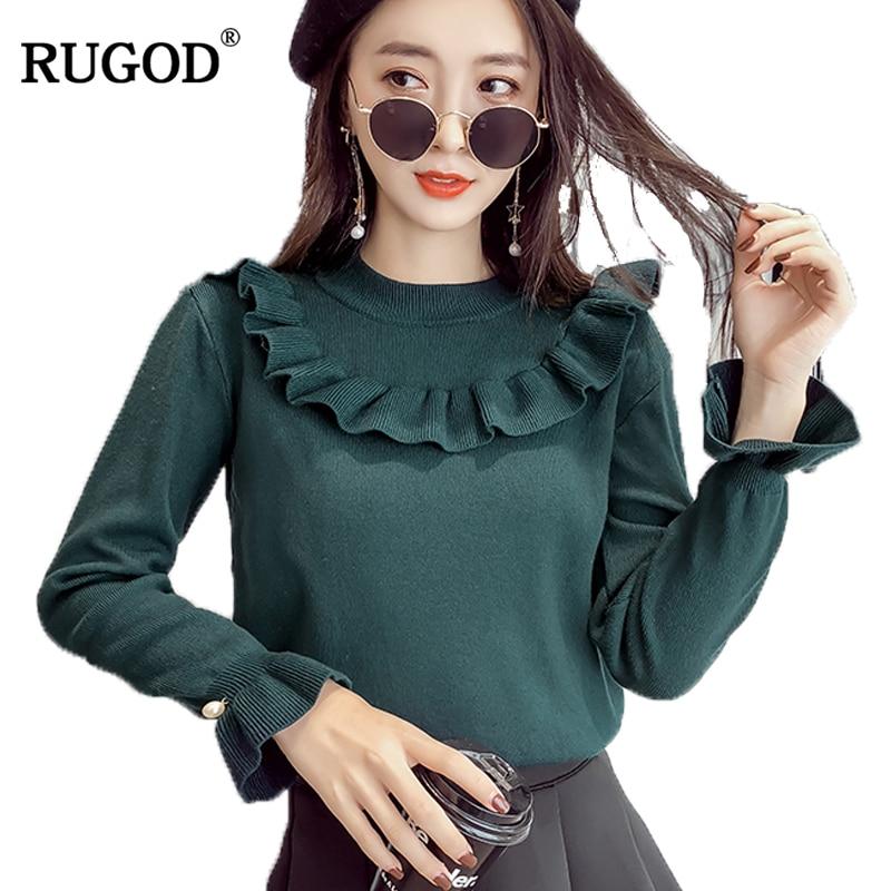 RUGOD 2018 nueva llegada invierno primavera elegante mujeres suéter O cuello Bodycon Slim suéter femenino del todo-fósforo de punto sueter mujer