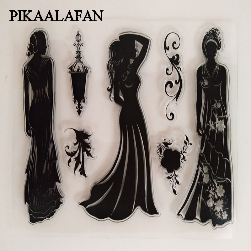 PIKAALAFAN Long Skirt Silicone Clear Stamp Scrapbook DIY Photo Album Cards Decoration Craft Transparent Stamp Clear Stamp Toy