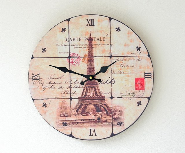 Europe Art style Wood Wall Clock CARTE patale Electronic clock frameless painting Clocks Living Room Decoration
