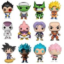 Super Dragon Ball Figuras Son Goku Kuririn Piccolo Vegeta Buu Torankusu Subiu Azul Vermelho Super Saiyan Goku PVC Toy Modelo presente