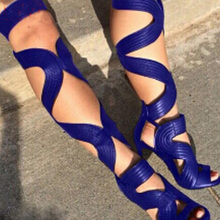Summer Women Snake Leather Sexy Lace-Up Stiletto High Heel Black Long Sandal Boots Wide Wrinkle Strappy Cut-Out Knee Party Shoes