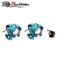 2Pcs 125W Motorcycle LED Headlight 2 Color Waterproof LED Fog Light 3000LM U5 Motorbike Driving Spot