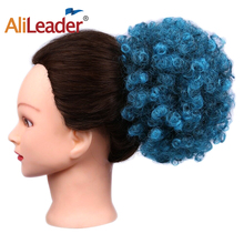 Alileader Blue Black Brown Chignon Bun Hairpiece Fake Afro Puff Ponytail Hair Extensions Synthetic Wig Kinky Curly 1PC