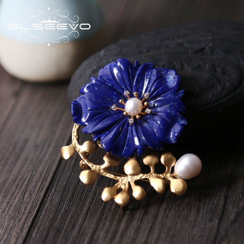 GLSEEVO Natural Lapis Lazuli Flower Brooch Pin Fresh Water Pearl Brooches For Women Dual Use Fine Designer Jewelry Luxury GO0213 glseevo natural lapis lazuli flower brooch pins and brooches for women accessories birthday gifts dual use luxury jewelry go0183