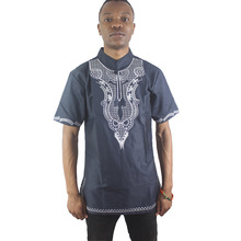Africa Navy Blue Illusion Embroidered Men`s Attire Tops Short Sleeved Both Side Pattern Tunic Shirts for Wedding Wearing цена