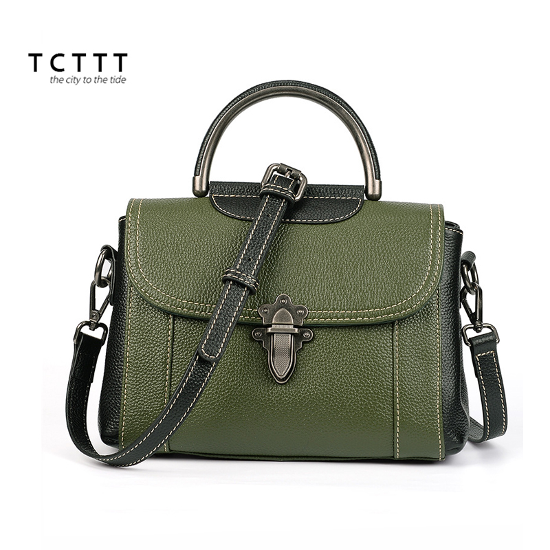 TCTTT Genuine leather women Shoulder bag Casual Luxury designer Crossbody Handbags Fashion Large Capacity ladies Bolsas Feminina tcttt luxury handbags women bags designer fashion women s leather shoulder bag high quality rivet brand crossbody messenger bag