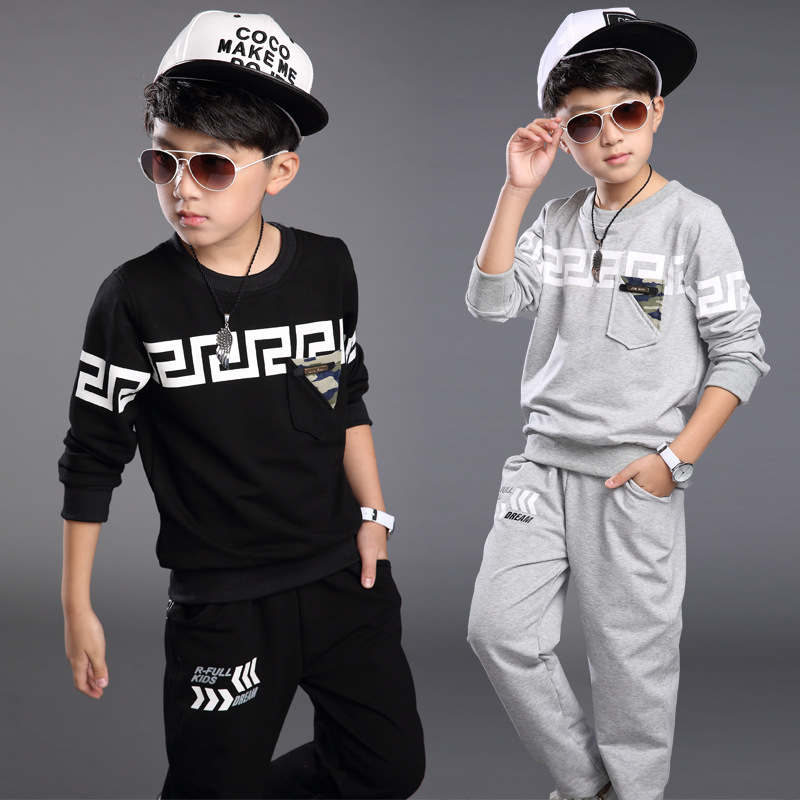 2016 New Autumn Spring Boy Set Thermal Children Tracksuit Kids Clothing Suit Boys Long-sleeved Shirt+trousers Suits For 3-12yrs 2016 new children s clothing boys long sleeved t shirt large child bottoming shirt spring striped shirt tide
